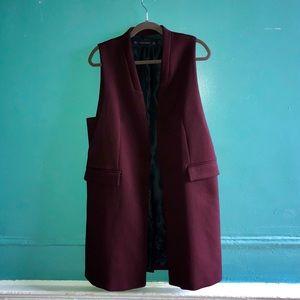 ZARA Maroon Long Waistcoat